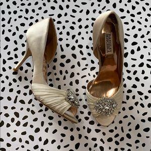 Badgley Mischka Satin Jeweled Wedding Heels